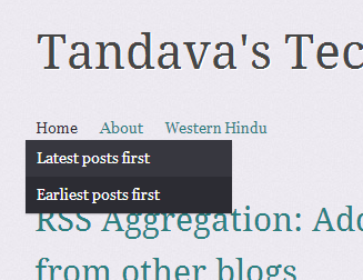 The menu items allowing users to view the blog in reverse order